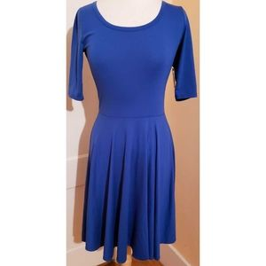Lularoe Nicole Dress Solid Blue A Line